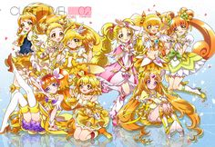 Cure Honey,Cure Lemonade,Cure Peace,Cure Twinkle,Cure Pine,Shiny Luminous,Cure Sunshine,Cure Rosetta & Cure Muse