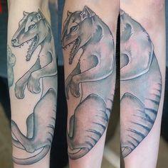 thylacine tattoo extinct animals black and grey
