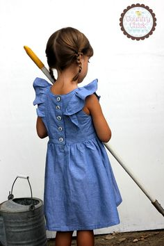 Vintage Style Chambray Pinafore With Anchor Buttons