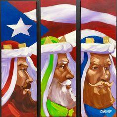 Triptico de reyes magos con la bandera de Puerto Rico pintados al óleo sobre madera.