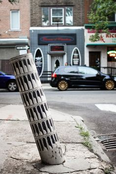 Street Art of Leaning Tower of Pisa in Philadelphia, PA, USA