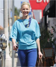 Katherine Heigl stepping out for an afternoon of shopping, sporting the Stella & Dot Bahari Necklace and Serenity Stone Drop Earrings