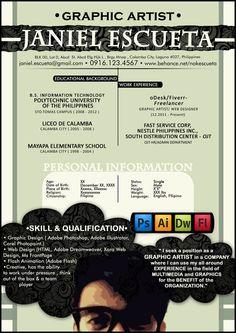 Resume of graphic artist, Janiel Escueta. Graphic Design Resume, Cv Design, Tool Design, Web Designer Resume, Artist Resume, Best Resume, Free Resume, Sample Resume, Resume Ideas