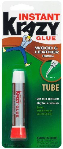 Krazy Glue KG82148R Instant Crazy Glue Wood and Leather Formula Tube 0.07-Ounce by Elmer's. $1.90. From the Manufacturer                For an instant bond that stays strong, nothing meats Krazy Glue.  It's America's leading instant glue.  Consumer's trust the name they know.  Innovative premium quality product introductions to satisfy consumer demand.                                    Product Description                Strong long-lasting bond that's excellent for...