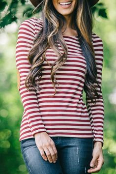 Striped Elbow Patchwork T-Shirt