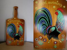 """Vintage 50s Berrgron Shelton Trayner 17"""" Large Wood Cutting Board with Rooster """"Good Morning"""""""