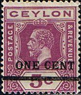 Ceylon 1918 Surcharged One Cent SG 337 Fine Mint SG 337 Scott 223 Other Ceylon Stamps HERE