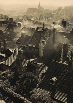 Prague rooftops sold by Swann Galleries, New York, on Thursday, May 2008 Old Photos, Vintage Photos, Street Photography, Art Photography, Josef Sudek, Famous Photographers, Monochrom, Rooftop, Paris Skyline