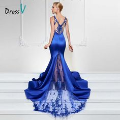 Only $98.38 , Dressv royal blue long evening dress sexy v neck mermaid sweep train luxurious formal party dress trumpet lace evening dresses
