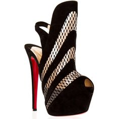Christian Louboutin Black Guizi Suede Heel This 160mm slingback is taking no prisoners! Her lace insets offers a delicate balance to her extreme height.  Perfe…