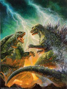 Gamera vs Godzilla by Bob Eggelton King Kong, Godzilla Toys, Godzilla Comics, Godzilla Wallpaper, Cthulhu, Giant Monster Movies, Japanese Monster, Destroyer Of Worlds, Famous Monsters