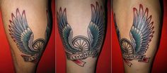 Bike Wheel With Wings And Banner Tattoo On Leg Calf