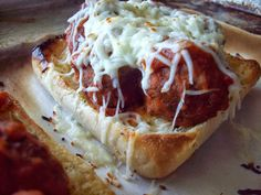 Toasted Meatball Sandwich    Great idea and with homemade ingredients will be great for a fun movie night at home!