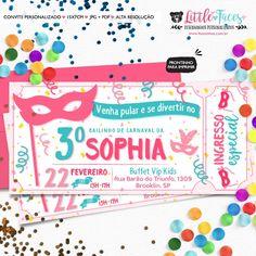 Convite Festa Bailinho de Carnaval Ingresso para imprimir
