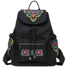 Women's Waterproof Oxford Cute Shoulder Bag Ethnic Style Embroidered Travel Backpack