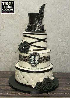 Black and white skull wedding cake