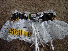 16.99$  Buy here - http://vires.justgood.pw/vig/item.php?t=lgpun3p10243 - Pittsburgh Steelers Football NFL Bridal Garter White lace trim Regular / Plus size