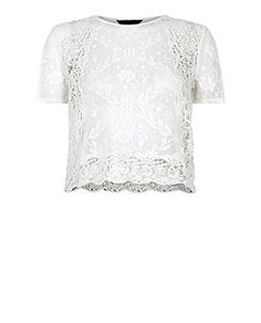 White Lace Panel Crop Top  | New Look