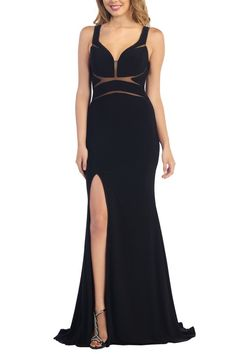 -+Maxi+Dress -+Mesh+Inserts -+Sleeveless -+Front+Slit+ -+Low+Back+ -+Back+Zipper+ -+Fits+True+To+Size+  Check+our+Sizing+Charts+for+sizing+info
