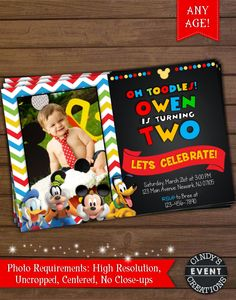 Mickey Mouse Party Invitation Mickey Mouse Invitation Mickey Mouse