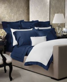 Ralph Lauren Langdon Border Collection at Macy's : Coverlet & Shams in Royal Peacock