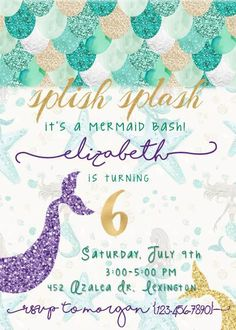 Mermaid party birthday invite. Can be customized as a shower invite, colors changed, etc. If you need physical invitations (as opposed to a digital file,) contact me and Ill create a special listing to include shipping! Please include the following in your order: -Birthday girls name -Birthday girls age -Date of party -Time of party -Location of party -RSVP information if wanted  PLEASE NOTE: THE FINAL FILE WILL BE IN PDF FORMAT. THIS WILL NOT ALLOW YOU TO PRINT ONLINE AT A CVS/WALGREENS...