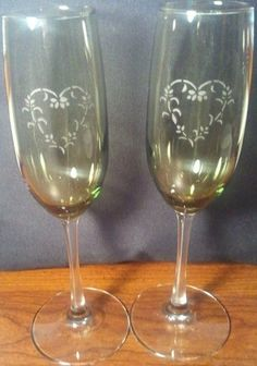 Champagne Flutes wine glasses etched heart design by MoreThanGlitz, $20.00