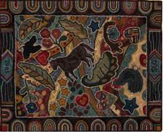 I LIKE THESE COLORS. Wool Hooked Rugs Horse Pattern | Rug Hooking, Primitive  Rug