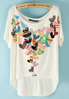 White Heart Print Irregular Bat Sleeve Modal T-Shirt