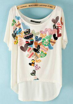 White Heart Print Irregular Bat Sleeve Modal T-Shirt