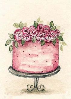 ACEO - Watercolor Cake No.1 - Art Print
