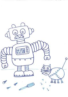 Crafty Bitch: Free printable robot colouring in pictures
