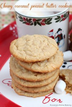 Bake a batch of these chewy coconut peanut butter cookies out for Santa and he'll leave you all the gifts you want! Yes, they are THAT good!...