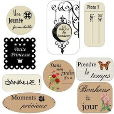 etiquettes_Blog Album Photo Scrapbooking, Pocket Scrapbooking, Papel Vintage, Vintage Cards, Printable Labels, Printable Planner, Planner Doodles, Etiquette Vintage, Tampons
