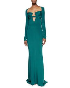 Cutout Long-Sleeve Gown with Triangle Bra by Cushnie et Ochs at Bergdorf Goodman.
