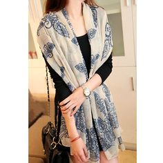 Blue And White Porcelain Print Scarf