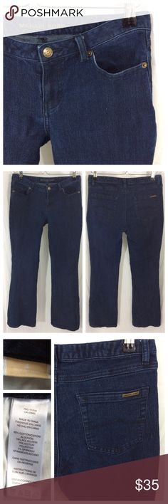 """MK Denim MK straight leg Denim Jean in all over dark wash. No factory distressing or fading. Standard pockets, front zip, button closure. Small logo plate on back right pocket. Size 4, approximately 15"""" waist, 31"""" inseam. Excellent condition Michael Kors Jeans Straight Leg"""