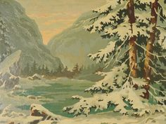 Vintage Winter Snow in The Mountains Paint by Number Painting | eBay