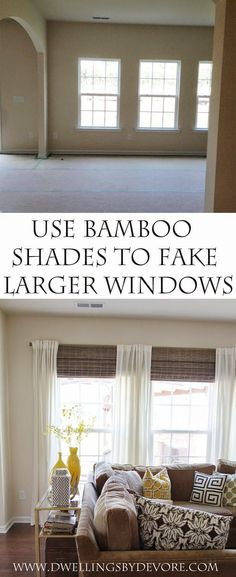 SO smart - use bamboo Shades & strategically placed curtains to make your window. - SO smart – use bamboo Shades & strategically placed curtains to make your windows look larger - Home Living Room, Apartment Living, Living Room Decor, Living Spaces, 3 Living Room Windows, Window Treatments Living Room Curtains, Basement Window Treatments, Blinds And Curtains Living Room, Cheap Window Treatments