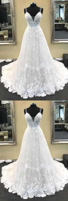 Ball Gown V Neck Spaghetti Straps White Lace Long Wedding Dresses by MeetBeauty 240 33 USD How To Dress For A Wedding, V Neck Wedding Dress, Lace Mermaid Wedding Dress, Perfect Wedding Dress, Mermaid Dresses, Bridal Lace, Lace Bride, Dress Lace, Western Wedding Dresses
