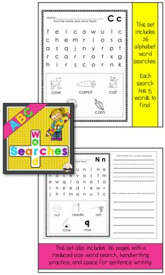 $ Alphabet ABC Word Searches for younger students!