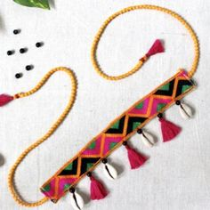 Fabric jewelry Jewellery for navratri Small Garden Bridges You'll Love To Cross! Diy Fabric Jewellery, Thread Jewellery, Textile Jewelry, Embroidery Jewelry, Handmade Rakhi Designs, Handmade Jewelry Designs, Handmade Necklaces, Diy Choker, Fabric Necklace
