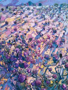 Detail of expressionist landscape painting by Erin Hanson.