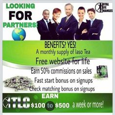 Total Life Changes is just an excellent opportunity to win in health and wealth.  The products work and it pays 50 %profit , you receive a commission check weekly.  The products are phenomenal with the flagship product being the IASO Detox tea.  Its all natural organic. It is only $39.95 product purchase each month and the tea sells quickly. Join here today  http://totallifeteam.com/cp3.php?user=djanders3