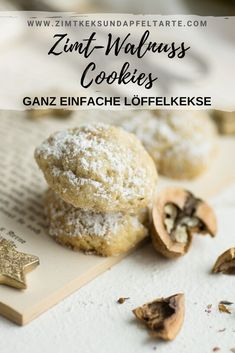 Cinnamon and walnut cookies - ZIMTKEKS & APFELTARTE - köstliche Rezepte, die gelingen,Zimt-Walnuss-Cookies Simple and lightning quick recipe for these incredibly delicious and sweet cinnamon walnut cookies. These are very simple spoon b. Pastry Recipes, Tart Recipes, Cookie Recipes, Dessert Recipes, Cookies Cupcake, Cookies Receta, Cinnamon Biscuits, Cinnamon Cookies, Walnut Cookies