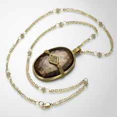 Brown Sapphire Slice Necklace with 18k gold and grey diamonds by Amali @QUADRUM