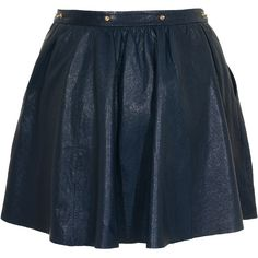 FELDER FELDER Rock Midnight Blue Embellished leather skirt ($275) ❤ liked on Polyvore featuring skirts, saias, bottoms, faldas, high-waisted flared skirts, high-waist skirt, circle skirts, leather skater skirt and high waisted skirts
