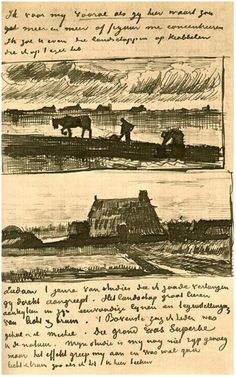 Vincent van Gogh Plowman with Stooping Woman, and a Little Farmhouse with Piles of Peat Letter Sketches