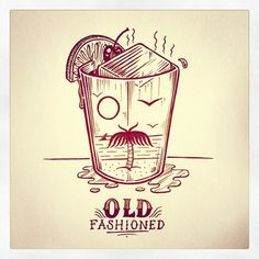 Instagram media jamiebrowneart - Old Fashioned Friday. #jamiebrowneart #oldfashioned #beverage #face #mustache #monocle #palmtree #orange #cherry #ice #chill #tgif #friday #bar #illusion #dazed #shady #jb