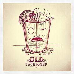 Instagram media jamiebrowneart - Old Fashioned Friday. #jamiebrowneart #oldfashioned #beverage #face #mustache #monocle #palmtree #orange #cherry #ice #chill #tgif #friday #bar #illusion #dazed #shady #jb